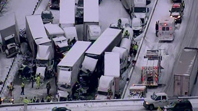 Winter weather caused a massive pileup on an Indiana highway Thursday. (Source: WLS/CNN)