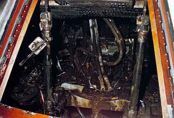The crew cabin of Apollo 1 after a fire broke out during launch testing and killed all three astronauts on board Jan. 27, 1967. (Source: NASA/Wikimedia Commons)