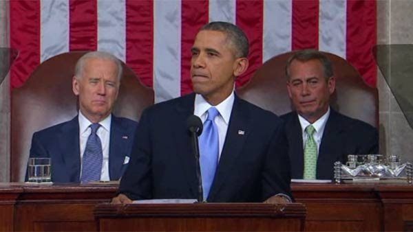 President Obama delivers the 2014 State of the Union address. (Source: POOL/CNN)