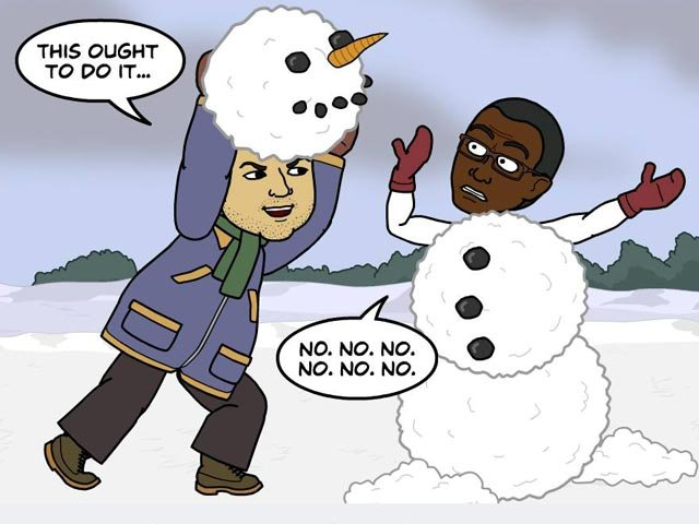 Brian has an alternative way to cool off his hot-headed friend, George. (Source: Bitstrips/Facebook)