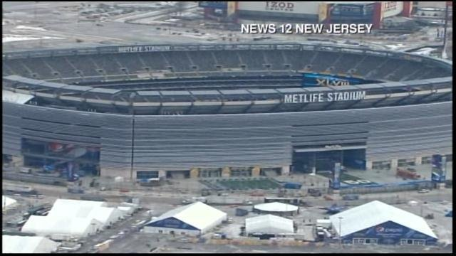 MetLife Stadium in East Rutherford, NJ, the site of Super Bowl XLVIII. (Source: News 12 NJ/CNN)