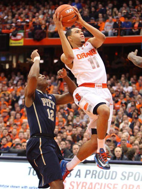 Tyler Ennis (11) and the Syracuse Orange are 21-0 with wins over Duke and Pitt in ACC play. (Source: Syracuse University Athletic Communications)