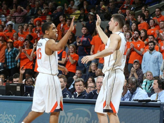 Malcolm Brogdon, left, and Joe Harris have the Virginia Cavaliers at 9-1 in the ACC. (Source: Matt Riley/VirginiaSports.com)