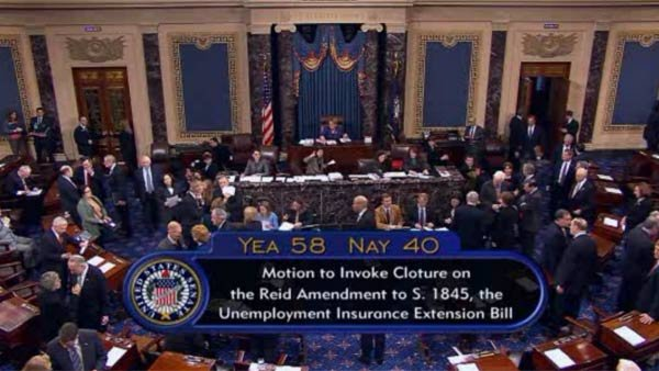 Proposal to extend long-term jobless benefits fails to clear procedural vote in Senate. (Source: SENATE TV/CNN)