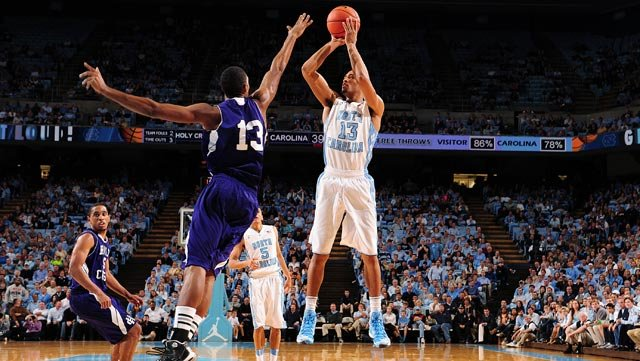 J.P. Tokoto (right) and the North Carolina Tar Heels host eighth-ranked Duke on Wednesday. (Source: UNC Athletics)