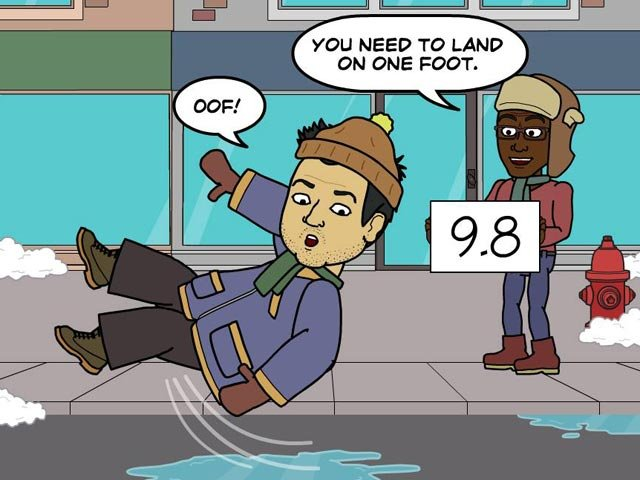 Clearly, Brian needs to work on his form. (Source: Bitstrips/Facebook)