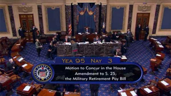 Senate passes measure to reinstate previously cut military pension increases. (Source: SENATE TV/CNN)