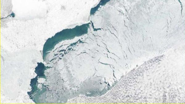 The Great Lakes are set to break records for ice and cold. (Source: NASA/CNN)