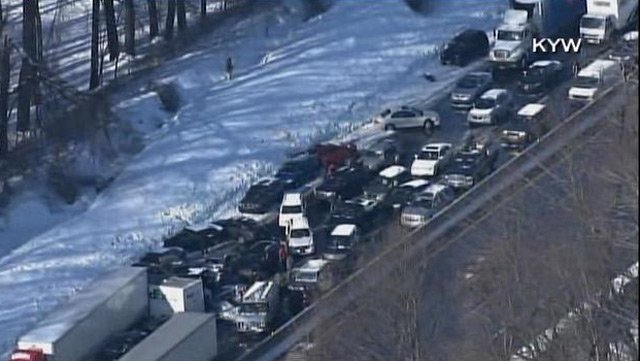 Up to 100 cars piled up on the Pennsylvania Turnpike Friday after several multi-car crashes.