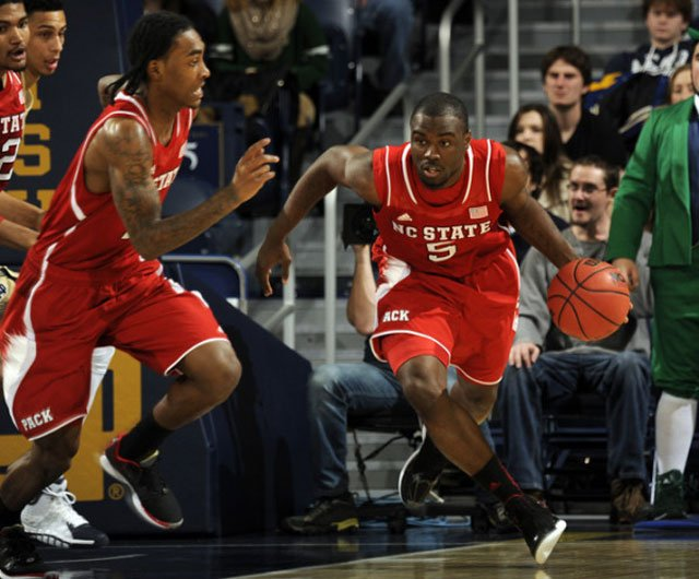 Desmond Lee (5), Cat Barber and the rest of the NC State Wolfpack go to Clemson on Tuesday. (Source: NC State Athletics Communications/GoPack.com)