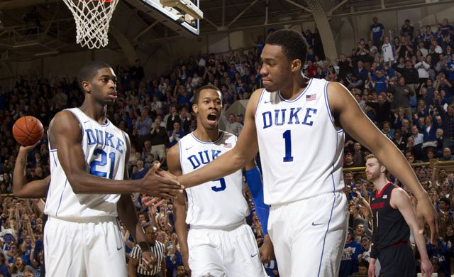 (From left to right) Amile Jefferson, Rodney Hood and Jabari Parker have helped No. 5 Duke to a 9-3 mark in the ACC. (Source: Duke Photography/GoDuke.com)