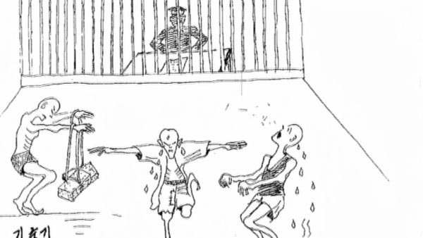 Witnesses sketched drawings of torture and suffering inside North Korean prisons. (Source: CNN)