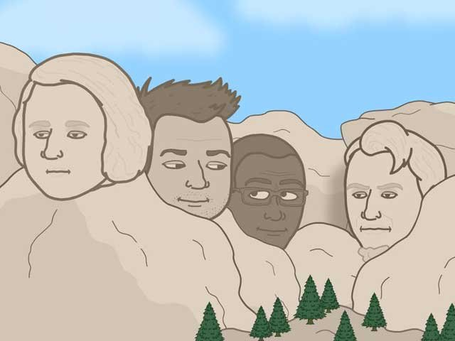 We broke our own rule and put ourselves on a Mount Rushmore of great sports writers. (Source: Bitstrips/Facebook)