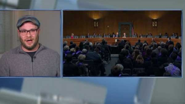 Actor Seth Rogen testifies about Alzheimer's and senators not showing up. (Source: POOL/CNN)