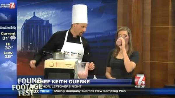 Chef Keith appeared on these shows over the holidays to promote his new cookbook, Leftovers Right, but the stations had no clue he was not a real chef. (Source: YouTube/FFF)