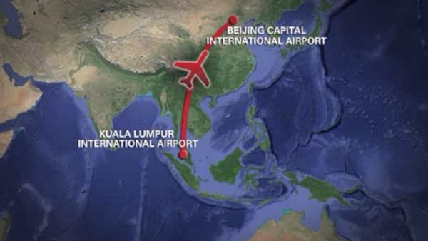 The plane was traveling from Kuala Lumpur, Malaysia to Beijing, China. (Source: CNN)
