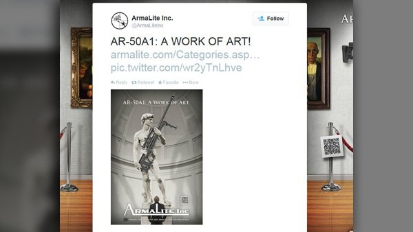 "Armalite's CEO expressed regret for an ad featuring Michelangelo's ""David"" holding the company's AR-50A1 rifle. (Source: Twitter)"