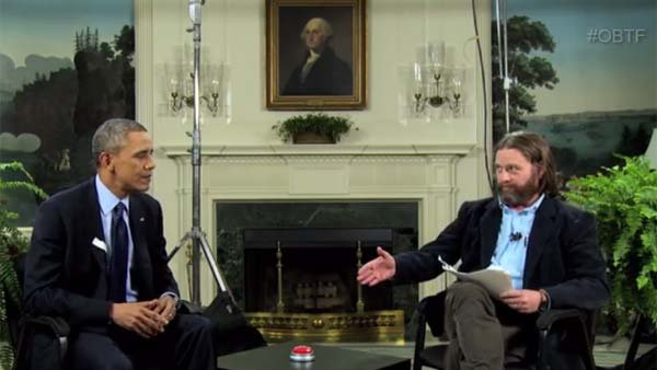 "President Barack Obama joins Zach Galifianakis for one of his ""Between Two Ferns"" episodes to pitch the Affordable Care Act. (Source: FunnyorDie.com)"