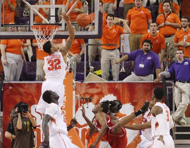 The Clemson Tigers' K.J. McDaniels (32) skied above the competition in ACC play this season. (Source: Rex Brown/Clemson Athletics)