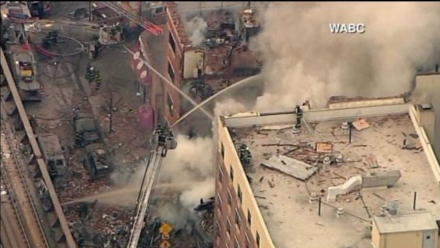 At least six people have died and 24 were injured when an apartment building collapsed in Manhattan on Wednesday.(Source: WABC/CNN)