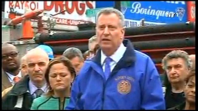 New York Mayor Bill de Blasio speaks during a news conference Wednesday. (Source: CNN)
