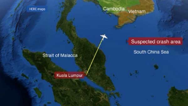 This map shows the area where the debris was found, in the South China Sea between Vietnam and Malaysia. (Source