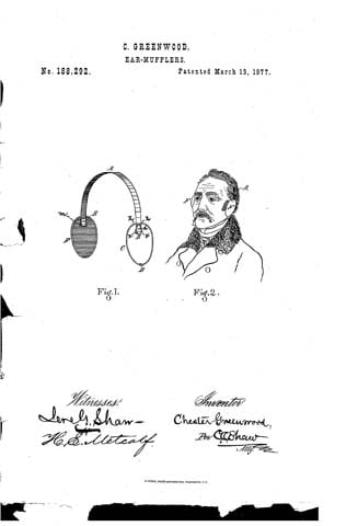 The patent filed by Chester Greenwood for earmuffs in 1877. (Source: U.S. Patent Office)