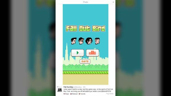 Rock band Fall Out Boy quickly filled the void left by Flappy Bird with their game Fall Out Bird. (Source: @falloutboy/Twitter)