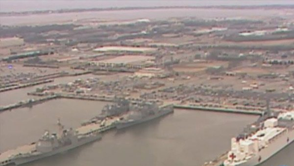 Two men were reported dead, a sailor and a civilian, according to base officials. (Source: WAVY/CNN)