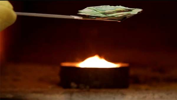 The money was burned in a pet cremator. (Source: YouTube user 903ampradio)