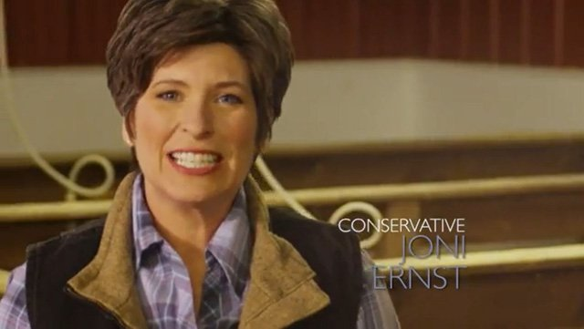 """I grew up castrating hogs on an Iowa farm. So when I get to Washington, I'll know how to cut pork,"" U.S. Senate candidate Joni Ernst says in her campaign ad. (Source: Joni Ernst/YouTube)"