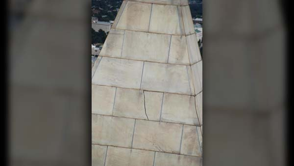 Large cracks were visible in the Washington Monument after an earthquake in 2011. (Source: National Park Service)