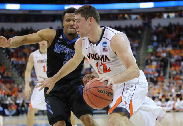 Joe Harris (12) and the No. 1 seed Virginia Cavaliers defeated Memphis 78-60 to reach the NCAA Sweet 16. (Matt Riley/VirginiaSports.com)