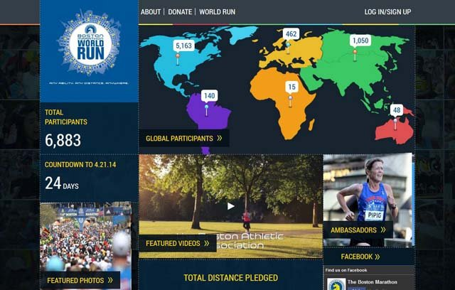 The Boston Marathon World Run website introduces participants to a worldwide Boston Strong running community. (Source: Boston Marathon World Run)