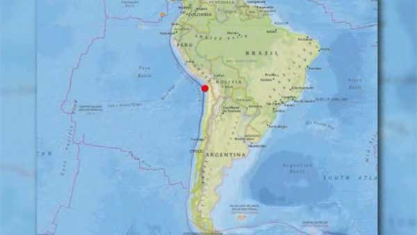 An 8.2 magnitude earthquake struck off the coast of Chile Tuesday night. (Source: USGS/CNN)