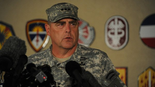 Lt. Gen. Mark Milley gives updates on the Fort Hood shooting incident to press at the Fort Hood main gate Wednesday. (Source: Fort Hood Press Center)