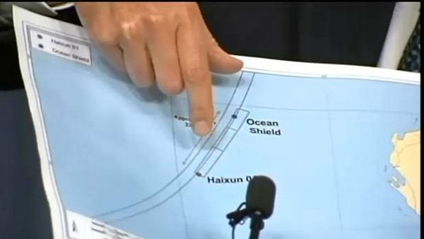 The location of the pings are pointed out in a Monday press conference. (Source: CNN)