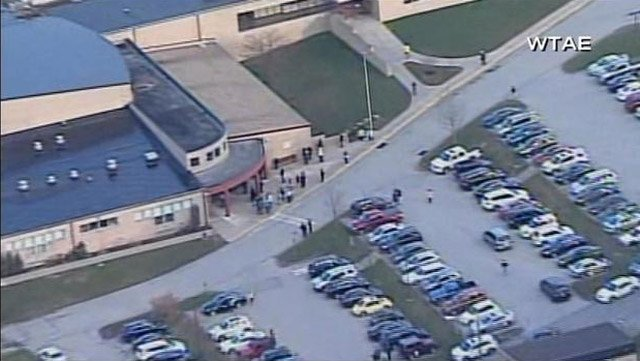 A stabbing occurred inside a Murrysville, PA, high school Wednesday. (Source: WTAE/CNN)