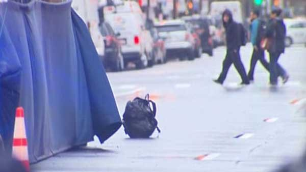 Two unattended backpacks were found at the finish line at the Boston Marathon finish line Tuesday. (Source: MSA Intel)