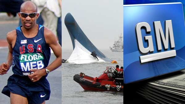 An American winning the Boston Marathon, the rising death toll from the capsized South Korean ferry and General Motors' slim profit margin all made headlines this week.