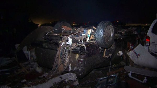 Wreckage is seen in Mayflower, AR, on Sunday night. The town was one of the most hard-hit, with at least one death there. (Source: CNN)