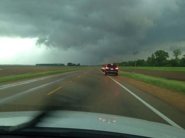 A wall cloud is seen on the ground near Yazoo City, MS. (Source: @WLBT_DKenney)