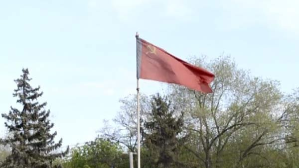 Separatists declare the 'People's Republic' in the city of  Luhansk  in eastern Ukraine on Monday, April 28. The flags of Russia and the former Soviet Union were flown in celebration. (Source: CNN)