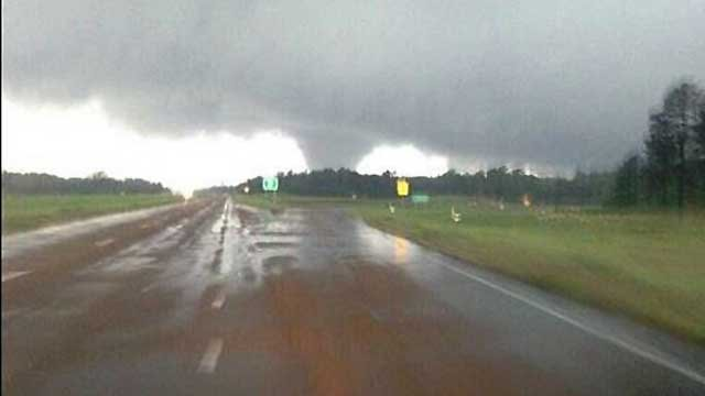 A funnel cloud is spotted Monday in Winston County, MS. (Source: Twitter/NWSJacksonMS)