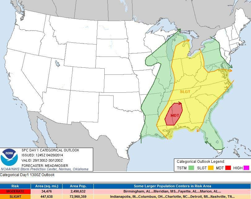 Pictured is the National Weather Service's severe weather outlook from 7:45 a.m. CT Tuesday. (Source: NOAA)