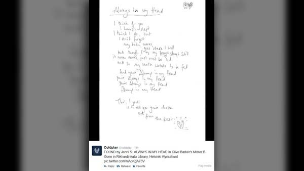 After a fan finds Coldplay's lyrics, the band posts the lyric sheet to their Twitter page. (Source: Coldplay/Twitter)