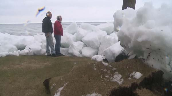 Strong winds pushed ice off a lake and into homes in Minnesota. (Source: KARE/CNN)