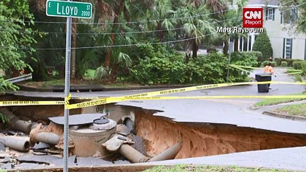Heavy rains have washed out some roads in Pensacola, FL. (Source: Matt Raybourn/CNN)