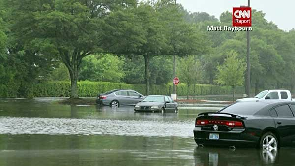 Pensacola, FL received several inches of rain Tuesday night, causing severe flooding. (Source: Matt Raybourn/CNN)