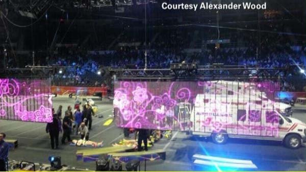 Several aerial performers fell during a circus at in Providence, RI, on Sunday. (Source: CNN)